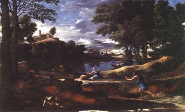 Landscape with man killed by snake EUR